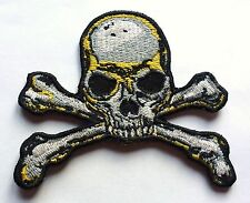 GOTHIC SKULL & CROSS BONES - SEW OR IRON ON BIKER MOTORCYCLE PATCH 80mm x 80mm