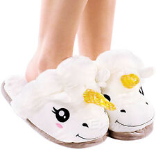 Cute  Women Men Adult Plush Winter Warm Soft Unicorn Slippers Home Indoor Shoes