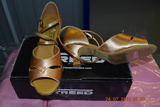 Tan Satin Freed Ella ballroom/latin dance shoes - size  UK 3.5