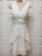 ARYEH White Eyelet Lace Sleeveless Dress Sz L