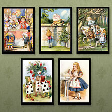 Alice in Wonderland 5 10x7 Prints by John Tenniel Set 1