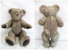 ANTIQUE MOHAIR TEDDY BEAR  HARD STUFFED Leather Pads TALL FULLY JOINTED