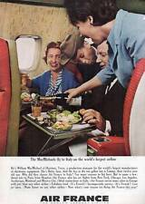 "1963 Air France Airlines ""...Fly to Italy..."" Stewardess Serving Wine PRINT AD"