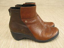 Merrell Two Tone Brown Leather Wedge Boots Women's Size US 6 EUR 36 Zip Up Shoes