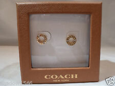 NEW In Factory Display Box Coach Stud Gold Plated Logo Circle Earrings 99934