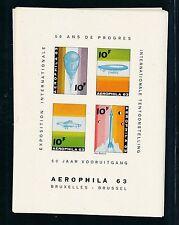 77398)  Luftpost Vignetten Block Belgien AEROPHILA 63, ** / MNH, geschnitten