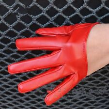 Women's Faux Leather Five Finger Half Palm Winter Warm Party Gloves Mittens RED