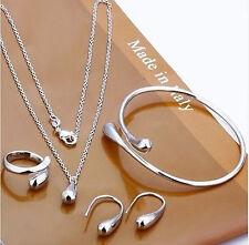Women jewelry Soild SILVER earrings/necklace/Ring bracelet/set & Gift Box B925