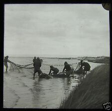 Glass Magic Lantern Slide A GROUP OF FISHERMEN C1900 PALASTINE ? NET FISHING
