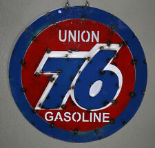 Metal UNION 76 GASOLINE Sign Gas Motor Oil Garage Man Cave Home Decor Recycled