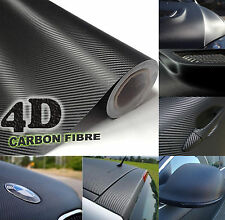 35x152cm Black Gloss 4D Carbon Fibre Vinyl Wrap High Quality Bubble Free 3M Glue
