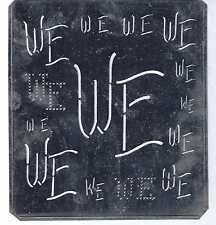 Große Monogramm Schablone WE  Jugendstil   Weißblech 15,5 x 18 cm Weissstickerei