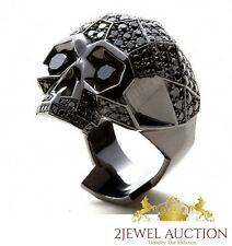 3.89 CT Real Black Diamond Cut 14kt Black Gold Men's 925 Silver Biker Skull Ring