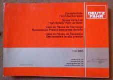 Deutz Fahr Hochdruckpresse HD360 Ersatzteilliste