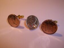 PENNY COIN CUFFLINKS & TIE PIN SET 1971 - 2008 PICK YOUR YEAR