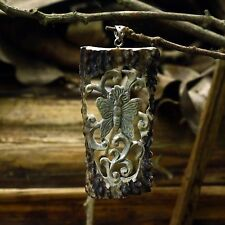 "Hand Carved Butterfly 3.1"" Natural Deer Antler Pendant Silver 925 AP1517"
