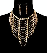 shiny mirrored gold layered  chain necklace/earrings collar chocker set