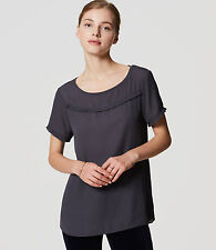 LOFT Ruffle Trim Mixed Knit/Chiffon New Blouse Short Sleeve Top (R$45) Sz: S,M,L