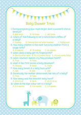 Baby Shower Trivia Game Blue/Boy PROFESSIONALLY PRINTED & DESIGNED
