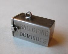 VINTAGE Sterling GALLOPING DOMINOES Silver Bracelet Box Charm OPENS Dice Inside