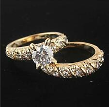 2PCS 18K GOLD FILLED ROUND CUT WEDDING ENGAGEMENT SOLID RING US SIZE 7