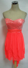 SEQUIN HEARTS Neon Coral Dance Party Dress 11 -$70 NWT