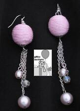Fashion Jewelry Handmade Pink Dangling Earrings with Woven & Pearl Design
