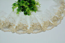 """2 Yards Lace Trim Exquisite Ivory Tulle Gold Flowers Embroidered 3.14"""" Width"""