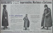 PUBLICITE BURBERRYS IMPERMEABLES MANTEAUX COSTUME TAILLEUR DE 1916 FRENCH AD PUB
