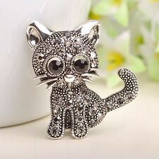 Little Cat Brooches Women Pin Up Jewelry Suit Hats Clips Antique Silver Corsages