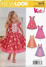 NEW LOOK SEWING PATTERN 6278 GIRLS SZ 3-8 DRESS WITH FLARED SKIRT & TRIM OPTIONS
