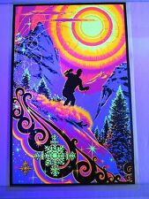 Vintage Psychedelic Blacklight Poster SUNRISE SKIER by Russell AA Sales SNOW SKI