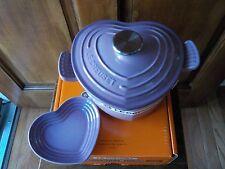 Le Creuset MAUVE PINK 2 Qt Heart Cast Iron Cocotte Dutch & Stoneware Dish New!
