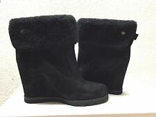 UGG KYRA BLACK WATER-RESISTANT LEATHER ANKLE WEDGE US 9 / EU 40 / UK 7.5 -NEW