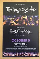 Tragically Hip Oct 5 2015 wiltern theater Los Angles handbill