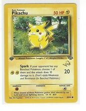 "POKEMON 1ST FIRST EDITION WITH GOLD ""W"" PIKACHU #60/64 50 HP NON-HOLO UNPLAYED"