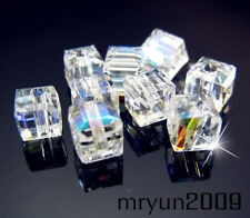 Free 100pcs 5601 Clear AB Crystal Spacer PENDANT Square Loose Beads Findings 4MM