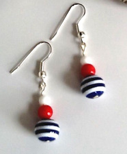 Nautical earrings with red, white and blue striped beads earrings UK designer