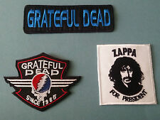 SET OF THREE MUSIC SEW/IRON ON PATCHES:-  GRATEFUL DEAD ZAPPA