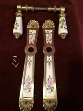 2  GORGEOUS VINTAGE BRASS PORCELAIN DOOR HANDLES       MADE IN ITALY