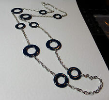 """LOVELY BLUE ENAMEL RINGS LONG SILVER PLATED CHAIN NECKLACE 35"""" 90 cm"""