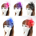 Women's Elegant Fascinator Headband Veil Hat Feather Mesh Wedding Garden Parties
