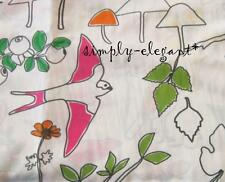 Lovely Birds Frogs Flowers Ludovika Fabric Bright colors on White Ikea Textiles