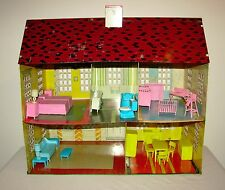 Vintage 1948 Tin Lithograph Doll House F.W. Woolworth with Period MPC Furniture