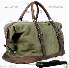Vintage military Leather Canvas men travel bags luggage bags sports leisure bag
