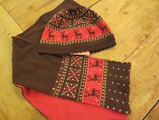 Gymboree Brown Pink Nordic Vintage Scarf & Knit Hat Girl 3-4 Tyrolean Lure NWT