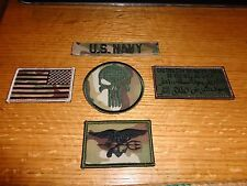 USN MULTICAM Patch LOT OF 4 Set SEAL TRIDENT,PUNISHER,FLAG STAY BACK w/  HOOK