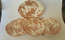 Seven Pces Rare Brown/Red Olde Avesbury dated 1966 6 Dinner Plates  1 Platter