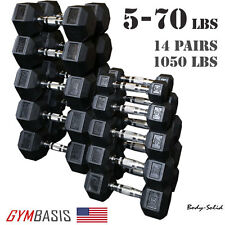Body-Solid Set 5-70lb. Rubber Coated Dumbbell 14 Pairs, total 1050lbs.