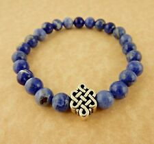 Men's stretch Celtic Knot w/ Sodalite beaded stretch bracelet Unisex